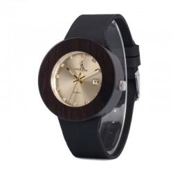 Дамски дървен часовник златен абанос