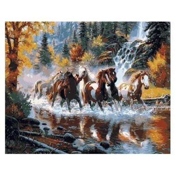 Картина за рисуване по номера - Галопиращи коне