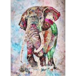 Картина за рисуване по номера - Цветен слон