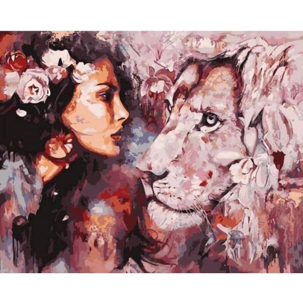 Картина за рисуване по номера - Красавицата и лъвът