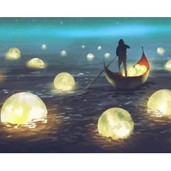 Картина за рисуване по номера - Светлини в реката