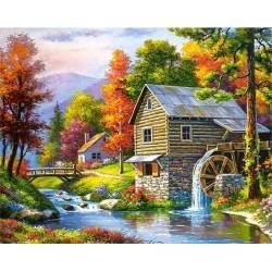 Картина за рисуване по номера - Къща край реката