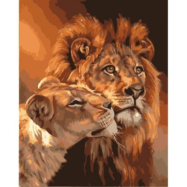 Картина за рисуване по номера - Лъвове