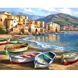 Картина за рисуване по номера - Лодки край брега