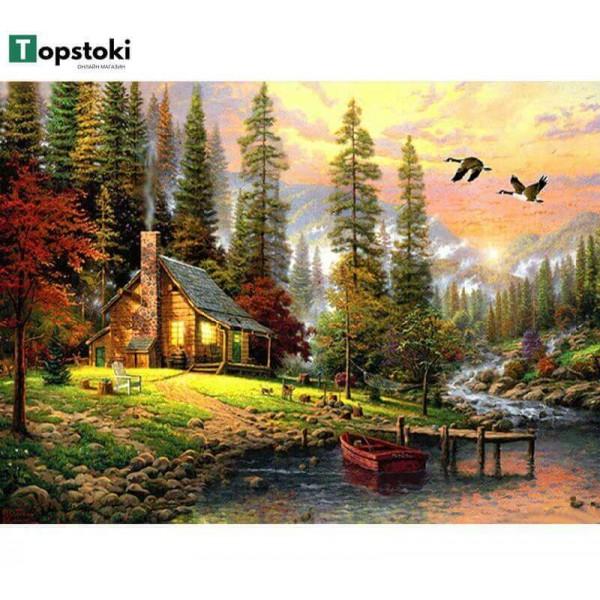 Картина за рисуване по номера - Горска къща