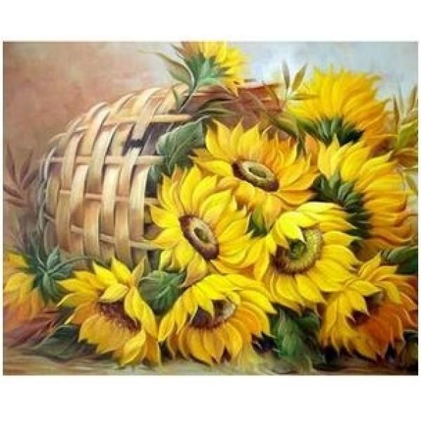 Картина за рисуване по номера - Слънчогледи в кошница